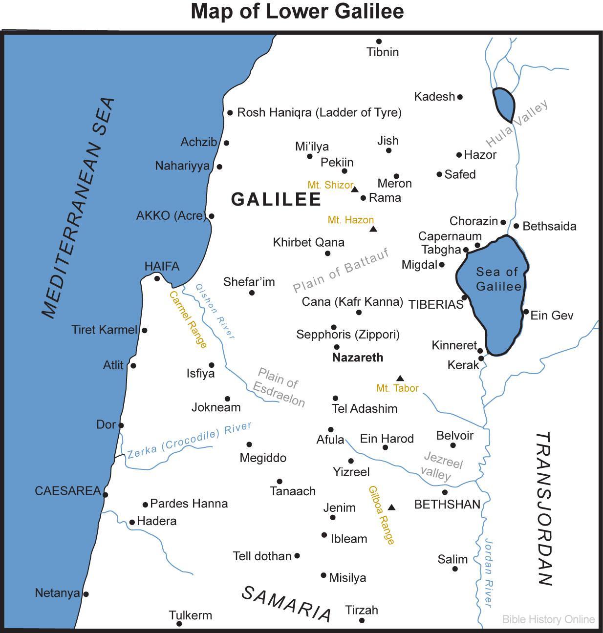 Jerusalem nach Galiläa map - Karte von Galiläa und Jerusalem (Israel)