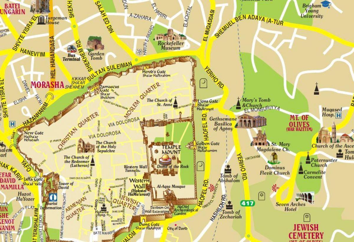 Jerusalem Karte Deutsch.ölberg Map Karte Von ölberg Und Jerusalem Israel