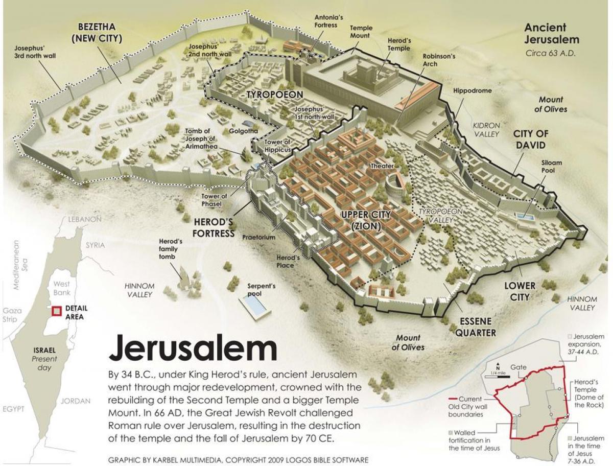 Jerusalem Karte Deutsch.Das Antike Jerusalem Karte Karte Des Alten Jerusalem Israel